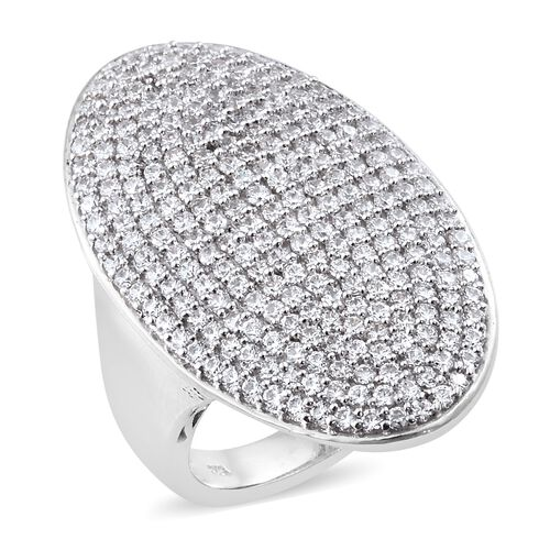 J Francis - Platinum Overlay Sterling Silver (Rnd) Cluster Ring Made with SWAROVSKI ZIRCONIA, Silver