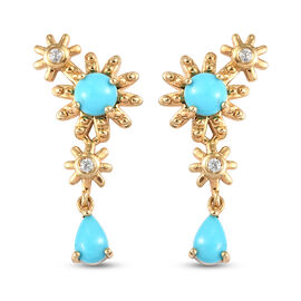 Arizona Sleeping Beauty Turquoise and Natural Cambodian Zircon Dangle Earrings (with Push Back) in Y