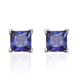 Simulated Tanzanite Solitaire Stud Earrings in Rhodium Plated Sterling Silver