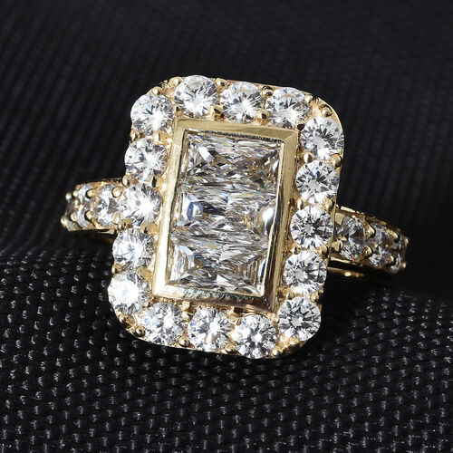 J Francis - 9K Yellow Gold (Bgt) Ring Made with SWAROVSKI ZIRCONIA