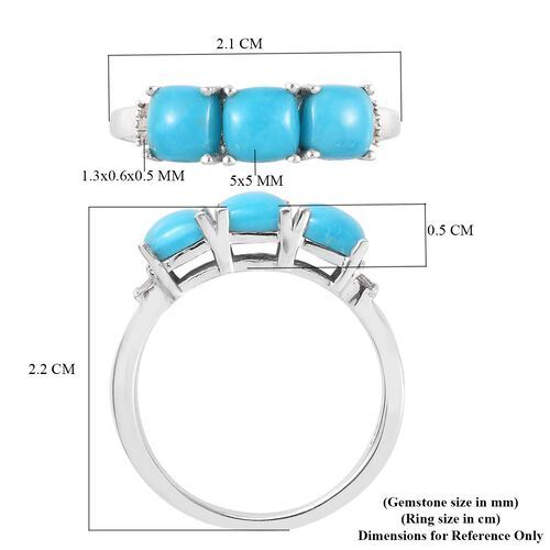 Arizona Sleeping Beauty Turquoise and White Diamond Ring in Platinum Overlay Sterling Silver 1.79 Ct.