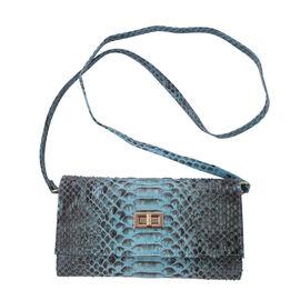 LA MAREY 100% Genuine Python Leather Crossbody Wallet (Size 19.5x11x2cm) - Blue
