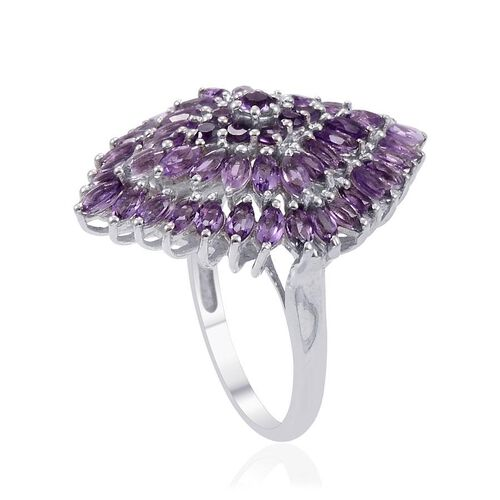 Zambian Amethyst (Mrq) Cluster Ring in Platinum Overlay Sterling Silver 4.000 Ct.