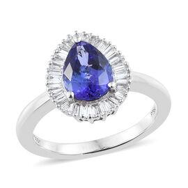 Rhapsody AAAA Tanzanite (Pear), Diamond (VS/E-F) 950 Platinum Ring  2.330  Ct, Platinum wt 6.58 Gms.