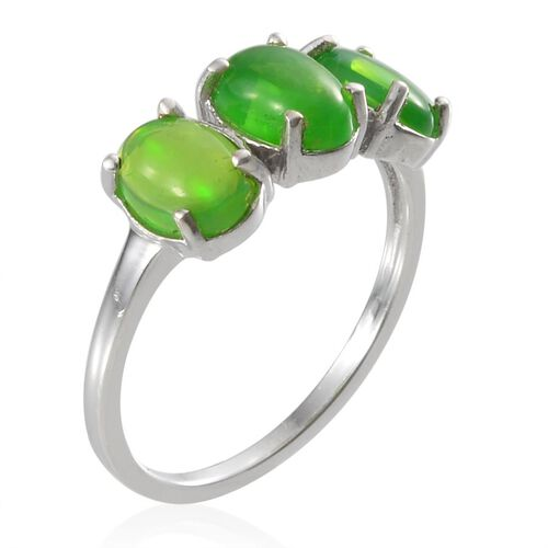 Green Ethiopian Opal (Ovl) Trilogy Ring in Platinum Overlay Sterling Silver 1.500 Ct.