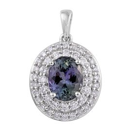 ILIANA 3.30 Ct AAA Rare Peacock Tanzanite and Diamond Halo Pendant in 18K White Gold