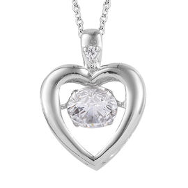 J Francis Platinum Overlay Sterling Silver (Rnd) Dancing Love Pendant With Chain Made With ZIRCONIA