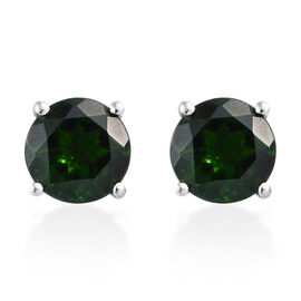 RHAPSODY 3 Carat AAAA Russian Diopside Solitaire Stud Earrings in 950 Platinum 1.66 Grams