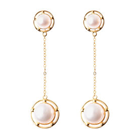 Freshwater White Pearl Dangle Earrings (with Push Back) in Yellow Gold Overlay Sterling Silver