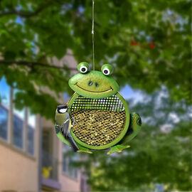 Metal Mesh Bird Feeder - Frog (23x8.5x49 Cm) - Green