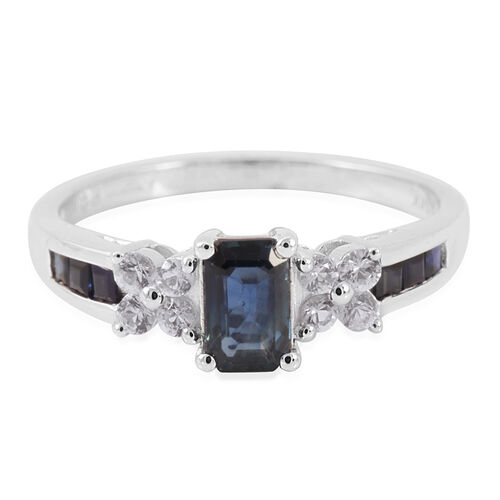 14K W Gold AAA Kanchnaburi Blue Sapphire (Oct), White Topaz Ring 1.100 Ct.