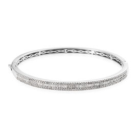 1.51 Ct Diamond Stacker Bangle in Platinum Plated Silver 14.70 Grams 7.5 Inch