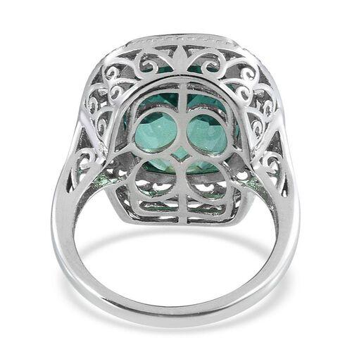 Peacock Quartz (Cush) Ring in Platinum Overlay Sterling Silver 14.000 Ct.