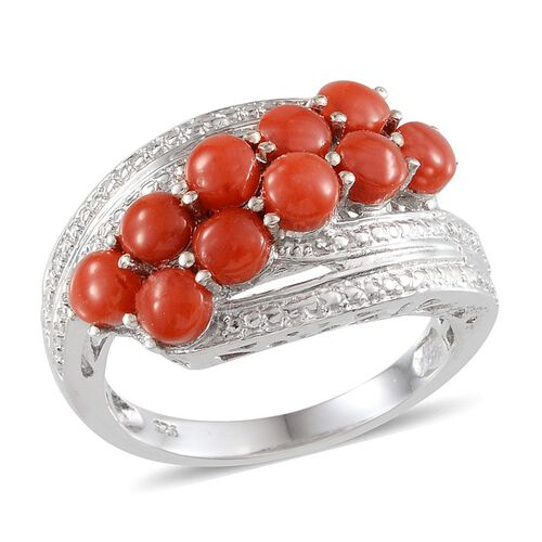 Mediterranean Coral (2.75 Ct) Platinum Overlay Sterling Silver Ring  2.750  Ct.