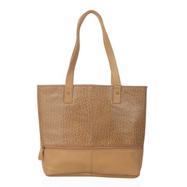 Spring Premium Collection Classic Tan 100% Genuine Leather Leopard Print Embossed RFID Travel Size B