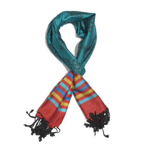 New for Season - Brown, Red and Multi Colour Scarf with Fringes at the Bottom (Size 180x70 Cm)