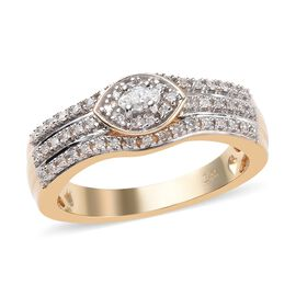 14K Yellow Gold SGL Certified Diamond (Rnd and Mrq) (I1-I2/G-H) Ring 0.25 Ct, Gold wt 5.20 Gms