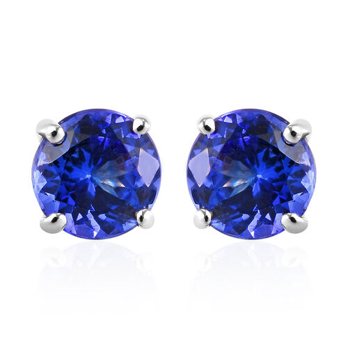 RHAPSODY 950 Platinum AAAA Tanzanite Solitaire Stud Earrings (with Screw Back) 3.00 Ct.