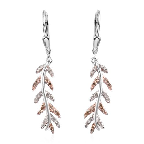Natural Champagne Diamond, White Diamond 0.25 Carat Leaf Lever Back Earrings in Platinum Overlay Ste