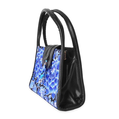 Shanghai Collection Black, Blue and White Colour Flower Pattern Tote Bag (Size 28x18.5x10 Cm)