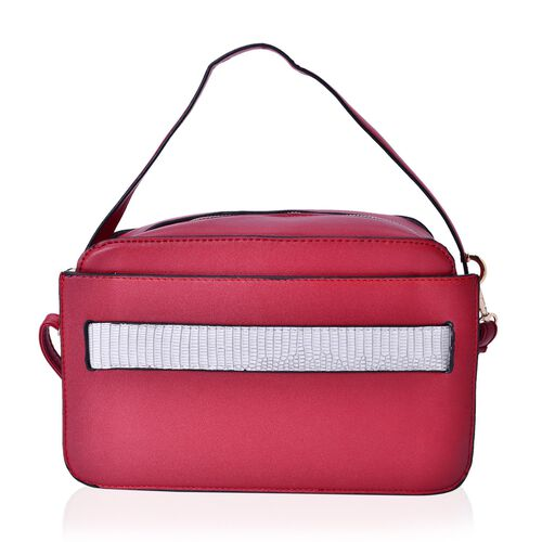 Red and White Colour Crossbody Bag with Adjustable and Removable Shoulder Strap (Size 25x17x7.5 Cm)