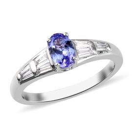 One Time Deal- Tanzanite (Ovl 6x4mm) and Natural Cambodian Zircon Ring in Platinum Overlay Sterling