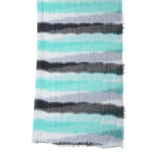 Black, White and Mint Green Colour Strip Pattern Scarf (Size 180x90 Cm)
