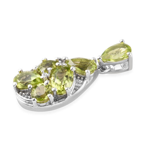 AA Hebei Peridot, Natural Cambodian Zircon Pendant in Platinum Overlay Sterling Silver 2.50 Ct.