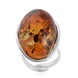 Baltic Amber Adjustable Solitaire Ring in Sterling Silver 7.50 Grams
