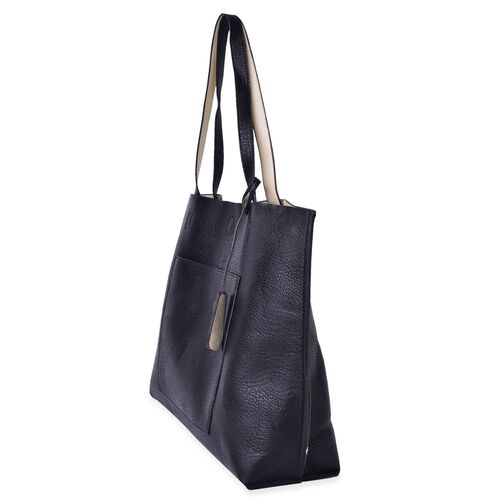 Black Colour Tote Bag with Slip Pocket at Front (Size 40.5X34X12 Cm)