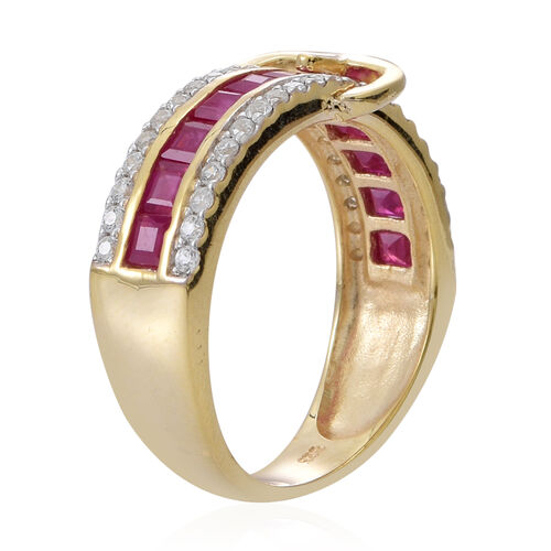 Burmese Ruby (Sqr), Natural Cambodian Zircon Buckle Ring in 14K Yellow Gold Overlay Sterling Silver 3.250 Ct.