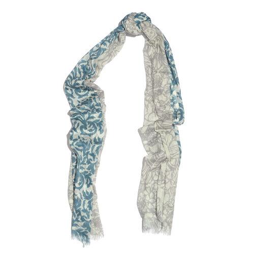 100% Cotton Blue Purple Colour Abstract Scarf (Size 180x100 Cm)