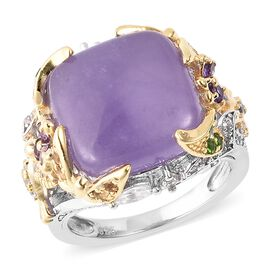 10.95 Ct Jardin Collection Purple Jade Ring in Rhodium and Gold Plated Silver