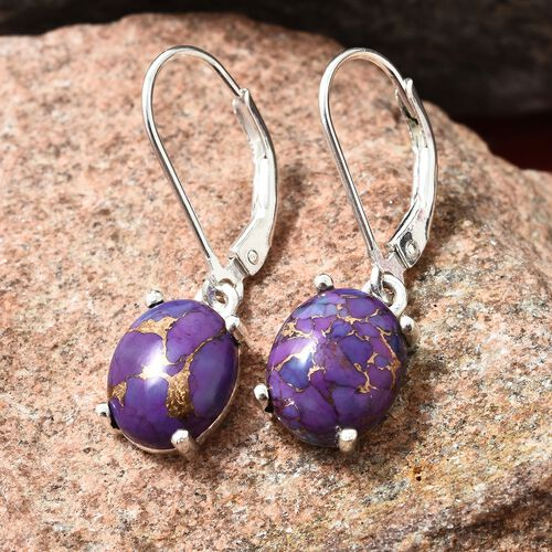 Mojave Purple Turquoise (Ovl) Lever Back Earrings in Sterling Silver 5.250 Ct.
