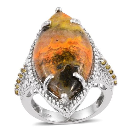 Bumble Bee Jasper (Mrq 18.00 Ct), Yellow Sapphire and White Diamond Ring in Platinum Overlay Sterlin