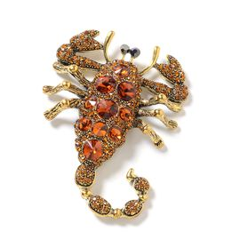 Brown and Grey Austrian Crystal (Rnd), Simulated Smoky Quartz Scorpion Brooch in Gold Tone