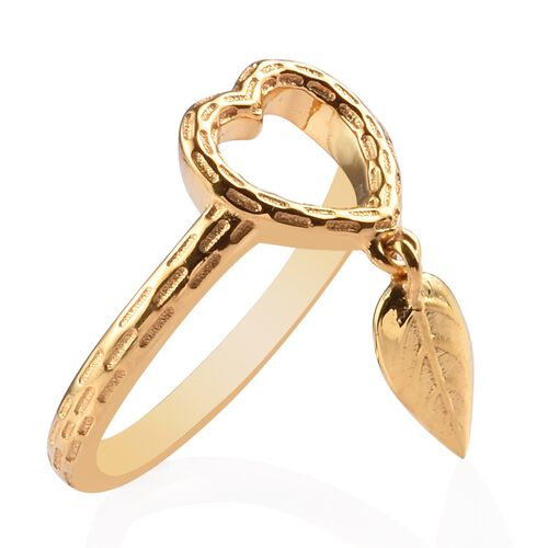 14K Gold Overlay Sterling Silver Leaf Charm Heart Ring