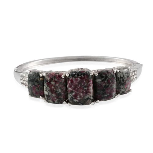 Natural Russian Eudialyte (Cush 7.50 Ct), Diamond Bangle (Size 7.5) in Platinum Overlay Sterling Silver 30.800 Ct.