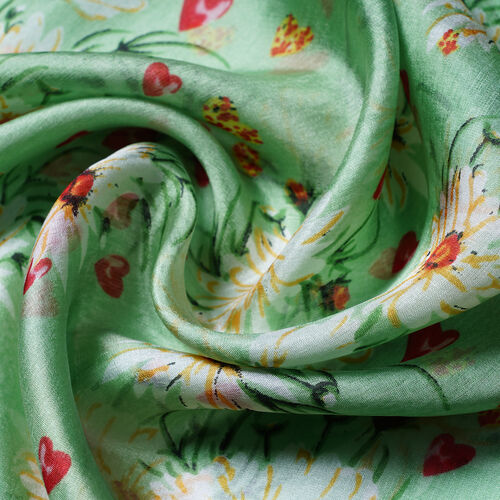 LA MAREY 100% Mulberry Silk Light Green and White Daisy Print Scarf (180x110cm)