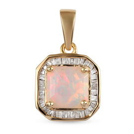 Asscher Cut Ethiopian Welo Opal and Diamond Halo Pendant in 14K Gold Overlay Sterling Silver 1.15 Ct