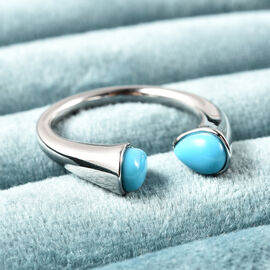 LucyQ Arizona Sleeping Beauty Turquoise Open Ring in Rhodium Overlay Sterling Silver
