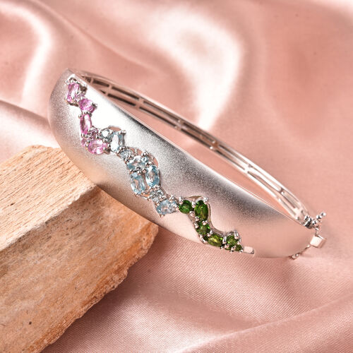 RACHEL GALLEY Sandblast Collection - Blue Cambodian Zircon, Pink Sapphire, Russian Diopside and Russian Dendritic Opal Bangle (Size 7.5) in Rhodium Overlay Sterling Silver 4.85 Ct, Silver wt 32.56 Gms