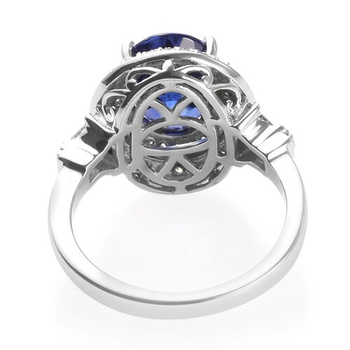 RHAPSODY 950 Platinum AAAA Tanzanite (Ovl 10x8mm), Diamond (VS/E-F) Ring 3.54 Ct, Platinum wt 7.50 Gms