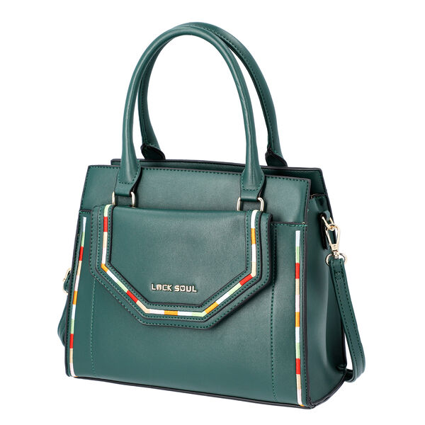 LOCK SOUL Dark Green Multiple Pocket Handbag with Zipper Closure and Detachable Shoulder Strap (Size 28x13x23 Cm)