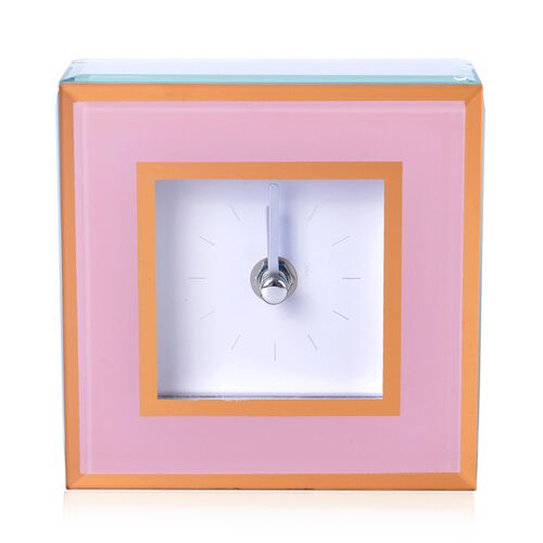 Home Decor - Pink Colour Square Shape Clock with Glass at Front (Size 12X12X4.5 Cm)