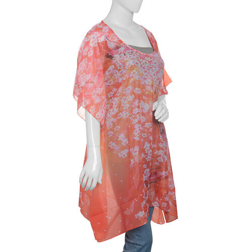 Pink, Orange and Multi Colour Flower and Butterfly Pattern Kaftan (Size 90x65 Cm)