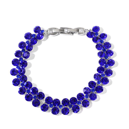 One Time Deal-Blue Sapphire Colour Austrian Crystal (Rnd) Bracelet (Size 7.5) in   Silver Plated