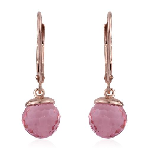 J Francis Crystal from Swarovski - Light Rose Colour Crystal Lever Back Earrings in Rose Gold Overlay Sterling Silver