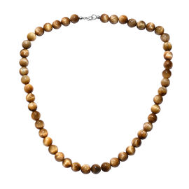 20 Inch Tiger Eye Beaded Necklace in Platinum Plated Sterling Silver 256 Ct