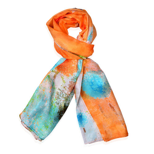 100% Mulberry Silk Orange, Red and Multi Colour Scarf (Size 170x110 Cm)